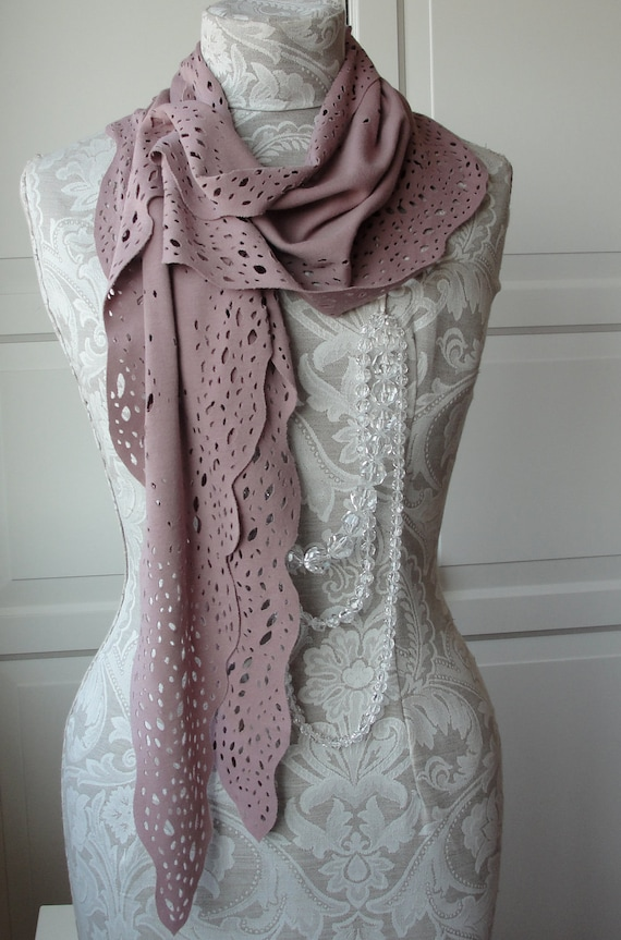SALE Hand cut out SCARF in dusky PINK jersey by Fairytale13