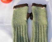 SALE Mint Chocolate Wrist Warmers - Green and Brown Fingerless Gloves