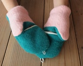 Teal Green and Cotton Candy Pink Convertable Mittens