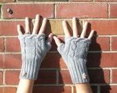 Felted gray fingerless gloves