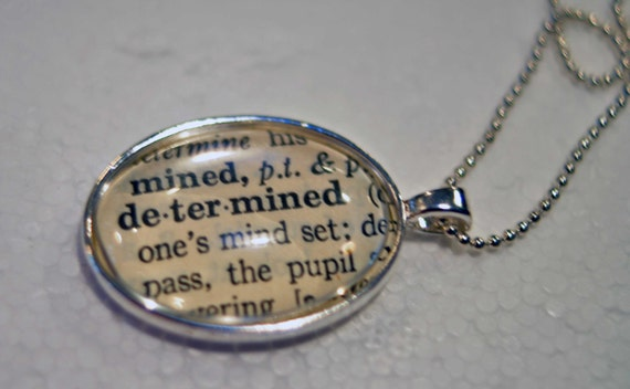 DETERMINED Vintage Dictionary Pendant Necklace