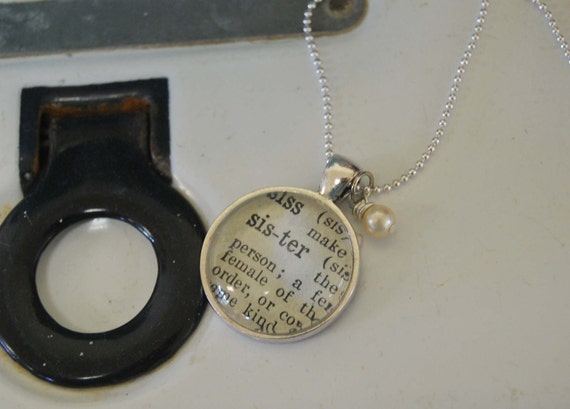 Vintage Dictionary Word Necklace Pendant Sister