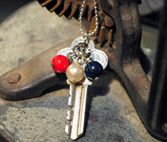 Vintage Key To Freedom Necklace 4th of July