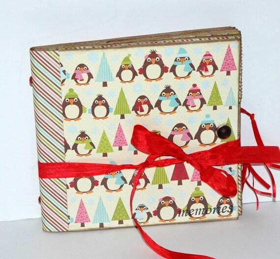 "SALE  Penguins ""memories"" Christmas  - Paper Bag Album - Scrapbook -  Journal"