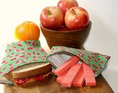Reusable Sandwich and Snack Bag Set - Juicy Watermelon Slices - Cotton Lunch Bags - Eco Friendly Food Storage
