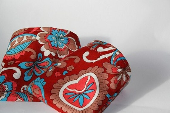 Reusable Sandwich and Snack Bag Set - Hearts In Bloom - Cotton Lunch Bags - Eco Friendly Food Storage