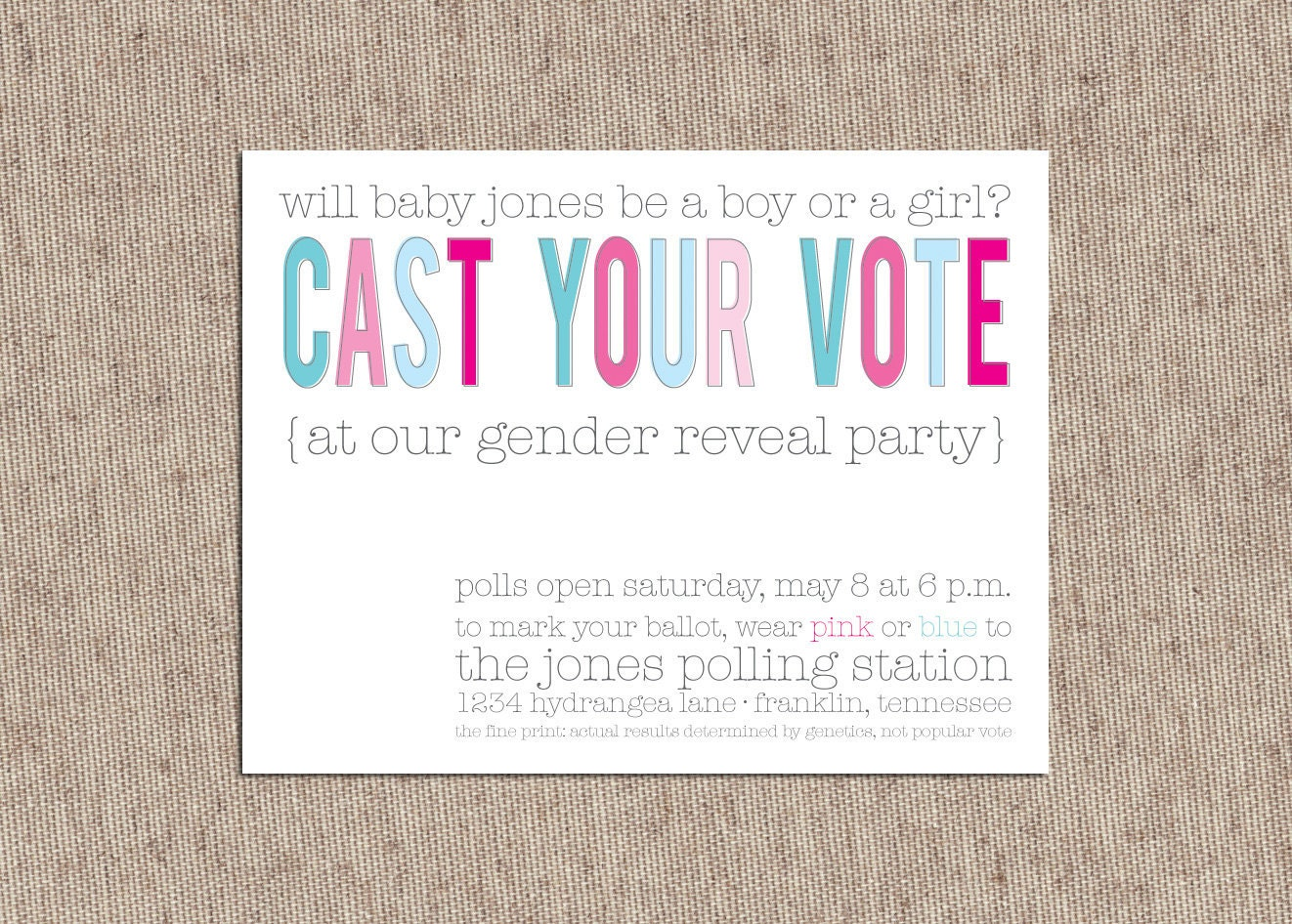 baby gender reveal party invitations blue and pink cast your, Party invitations