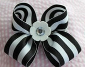 Big Black and White stripe bow