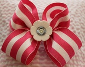 Hot pink and white big stripe bow