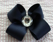 Big Navy Bow with Gem