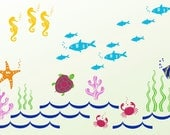 PROMOTION---Ocean Kids Wall Decals - Crab, Tuna Fish, Star Fish, Seaweed, Coral, Sea Horses, Turtle, etc