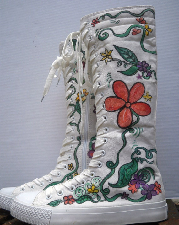 Hand Painted Flower Power Sneaker Boots