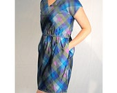 Store Closing SALE - Reg. 17.00 - Vintage Plaid 80s Green Blue Lilac Belted Mini Dress with Shoulder Button Detail