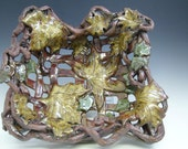 Falling Leaves Basket Handmade Stoneware Pottery