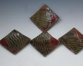 Quartet of Fishnet Dipping Dishes OOAK Stoneware