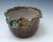 Ivy, Vine and Oak Leaf Rimmed Stoneware Bowl