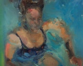 New Fine art original figure oil  painting girl swimming pool cannon ball summer modern impressionist by vargas