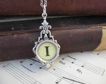 Typewriter Key Jewelry - Necklace - Letter I
