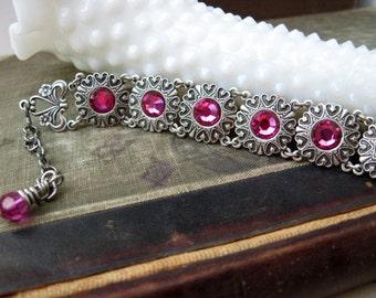 Fuchsia Swarovski Heart Jewel Bracelet B46