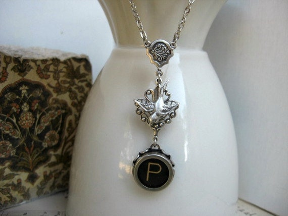 Typewriter Key Jewelry - Necklace - Letter P