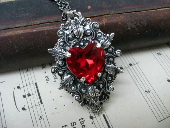 Deep Red Heart Swarovski Crystal Necklace