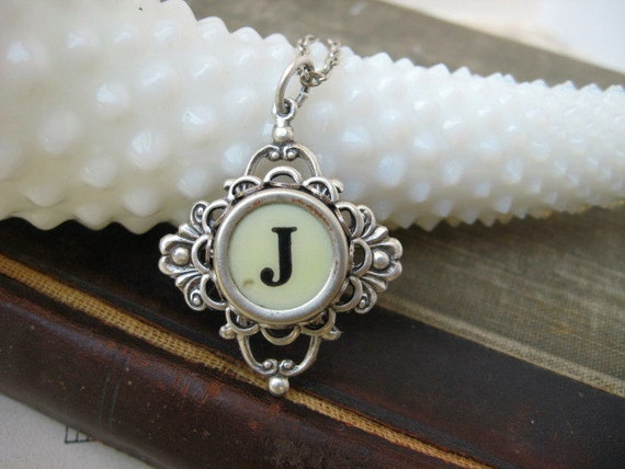 Typewriter Key Jewelry - Necklace - Letter Initial J