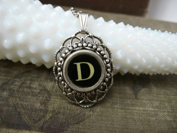 Typewriter Jewelry - Typewriter Key Letter D Pendant