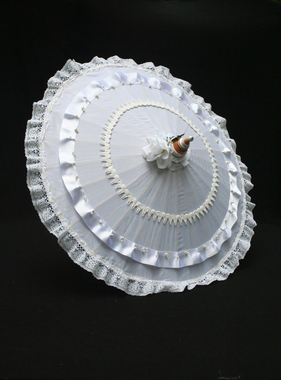 Bridal Parasol with lace, ribbons and beads