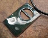 SALE Green Door Enamel Copper Pendant