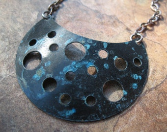 Horned Moon Blackened Copper Necklace