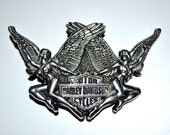 HARLEY DAVIDSON Motorcycles 1984 Vintage Naked Pinup Angels Wings  Brass Belt Buckle Official Licensed Product Excellent Condition by Baron