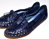 WOVEN LEATHER 1980s Vintage Slip On CONNIE Navy Blue Leisure Shoes Loafers Nautical Style Ladies sz 6 Make an Offer