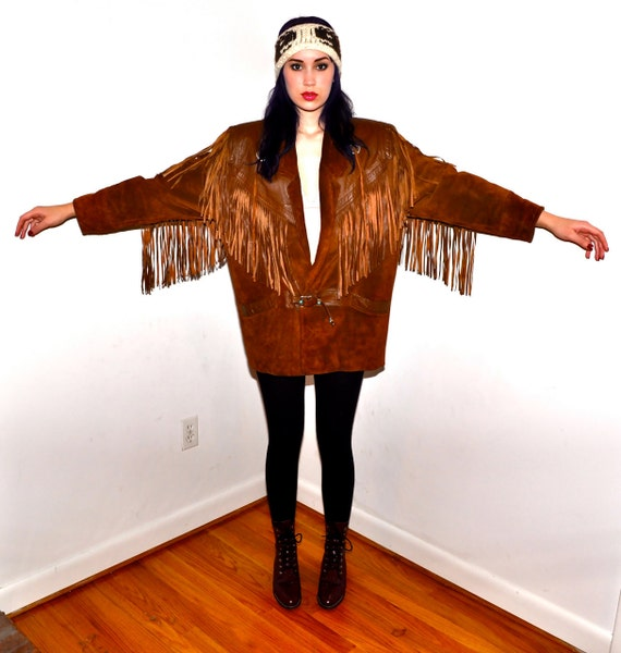 Make an Offer WESTERN FRINGE 1980s Vintage Leather and Suede Rockabilly Cowboy Cowgirl Boho Coat Ladies sz Medium M