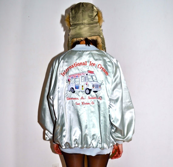 Make an Offer ICE CREAM TRUCK International Silver Satin Zip Up Jacket Mens Extra Large xl Like Good Humor Ryan Gosling in Drive Style