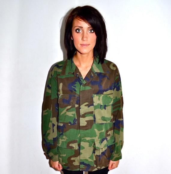 Army Camouflage Camo Button Down Fatigue Shirt Mens Medium M