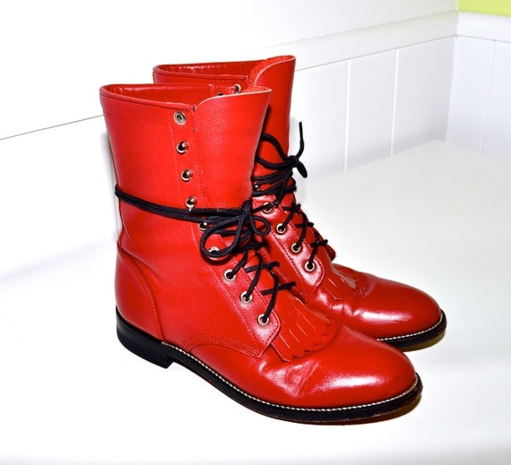 Make an Offer JUSTIN Lacer Roper Vintage Red LEATHER Lace Up Fringe Western Ranch Style Combat Boots Ladies 7.5 Fit like 8 Cowboy Cowgirl