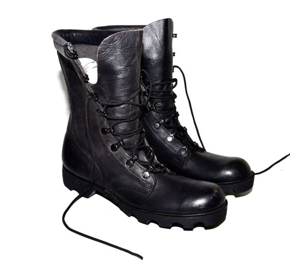 Make an Offer Black Leather MILITARY COMBAT BOOTS Perfectly Distressed Supple Ladies size 6 Like Harley Davidson and All Saints