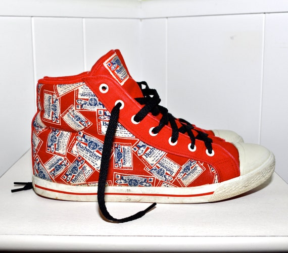 BUDWEISER 1970s 1980s  King of Beers Label Vintage Canvas High Top SNEAKERS Shoes Like Converse Pro Keds and Peter Max Grinner Ladies 8