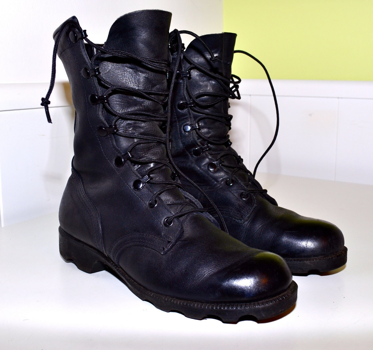black leather combat boots perfectly distressed