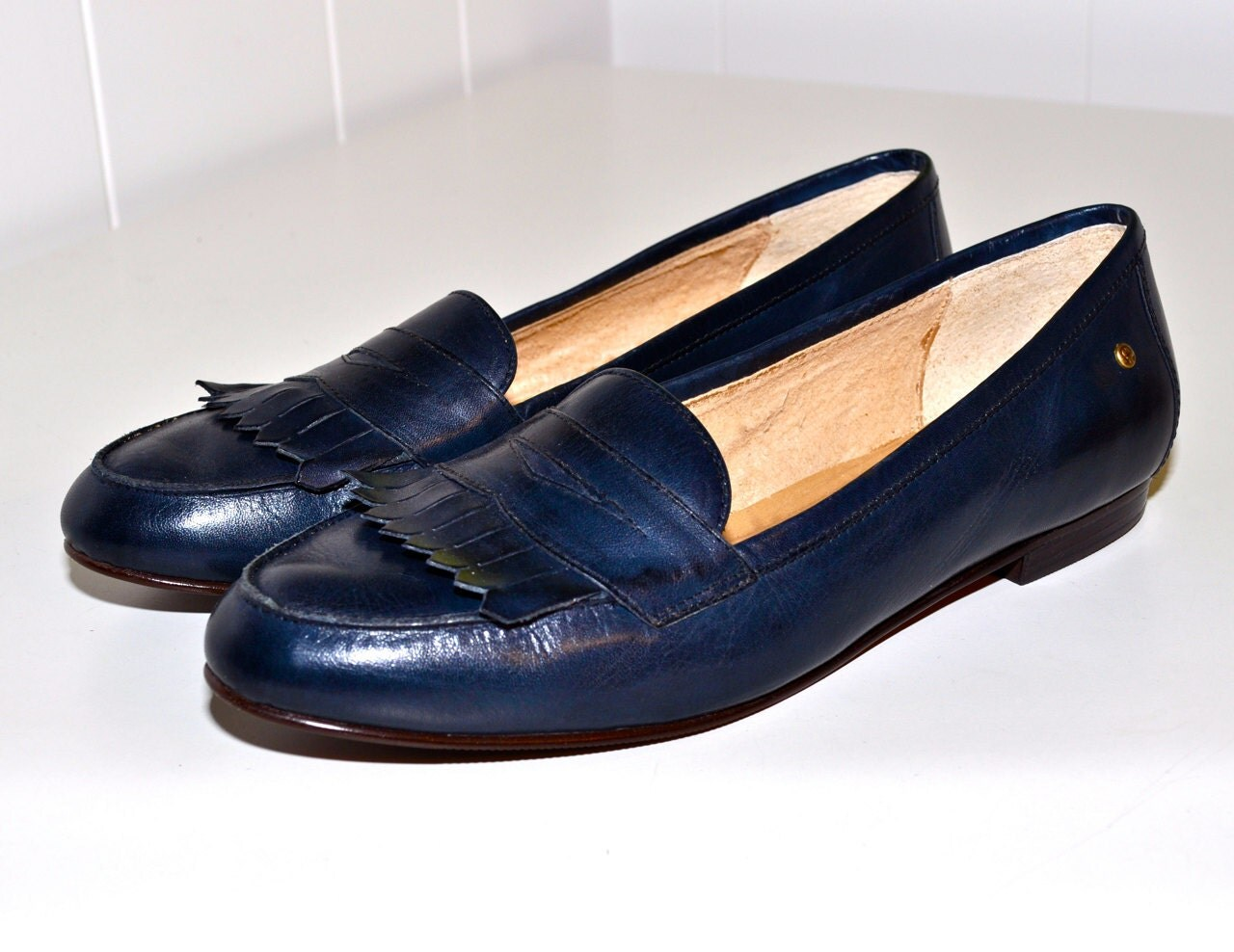 Navy Blue Loafers Womens Shoes