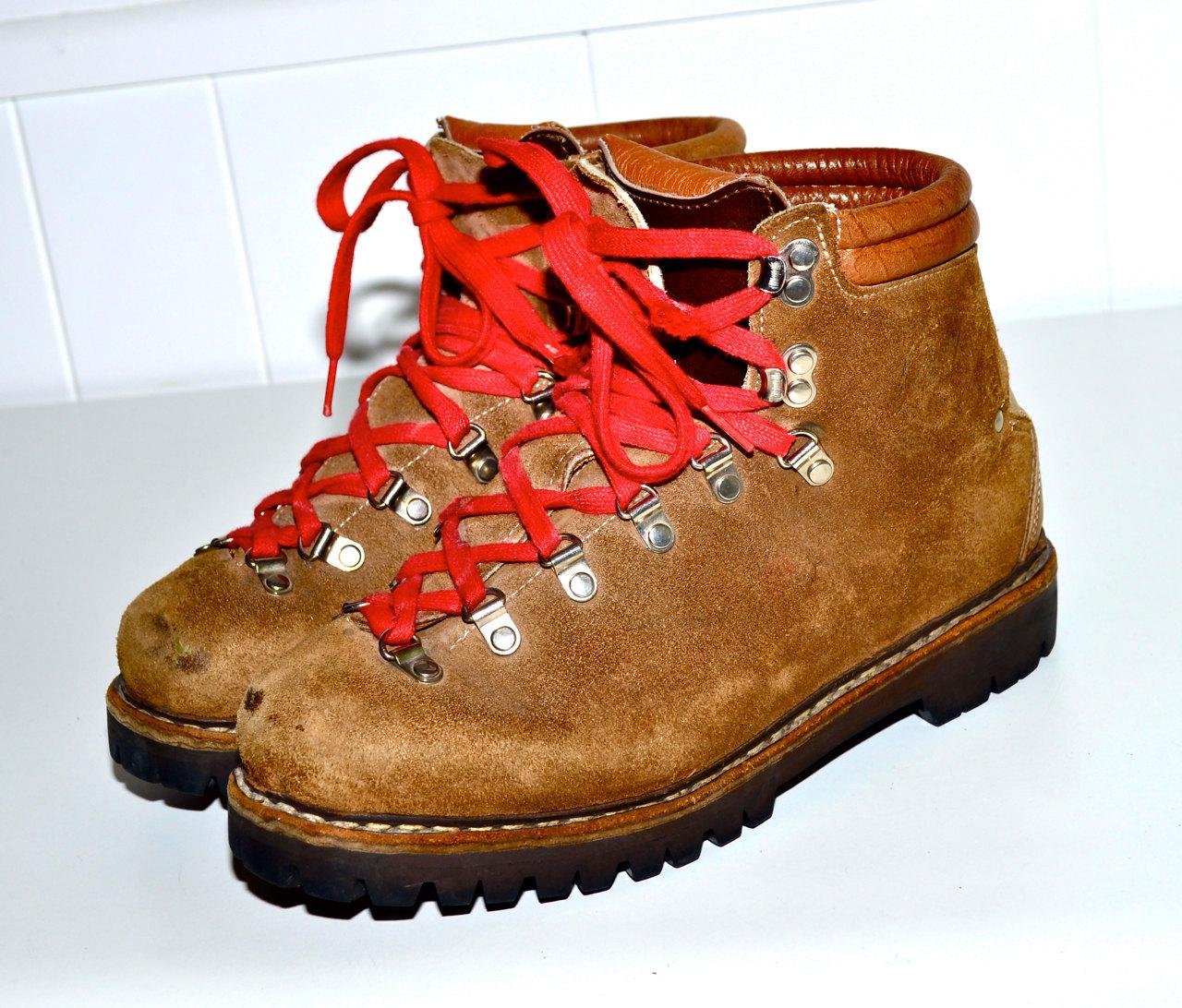 Italian Hiking Boots Vintage Alpine Mountaineering Boots Tan