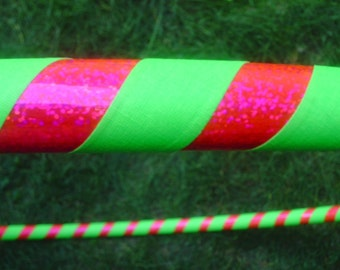 Adult Basic Hula Hoop - Hot Pink Sparkle and Green