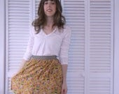 Mustard Yellow Floral Skirt w/ Black and Ivory Ribbon Waistband - Size Large