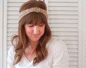 Turban Style Headband - Mustard Yellow Floral - Cinched Center - FREE SHIPPING