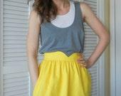 Heart Shaped Waistband Skirt - Yellow