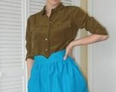 Heart Shaped Waistband Skirt - Teal Blue