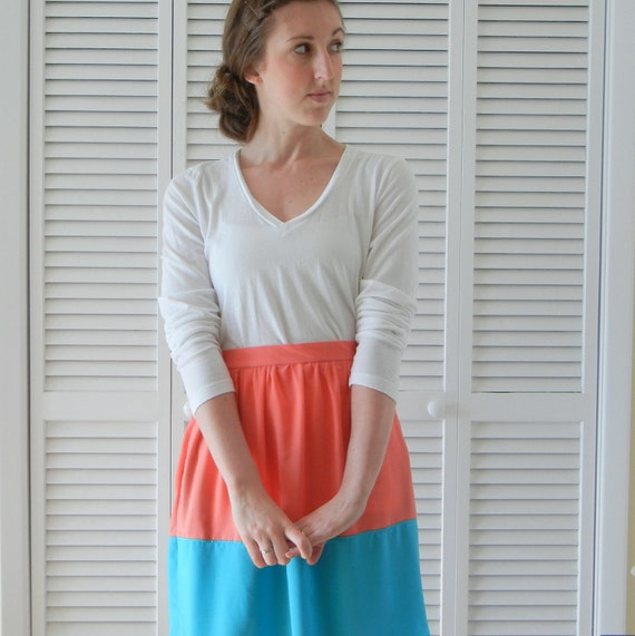 Colorblock Skirt - Bright Colors - Turquoise Blue & Coral Pink