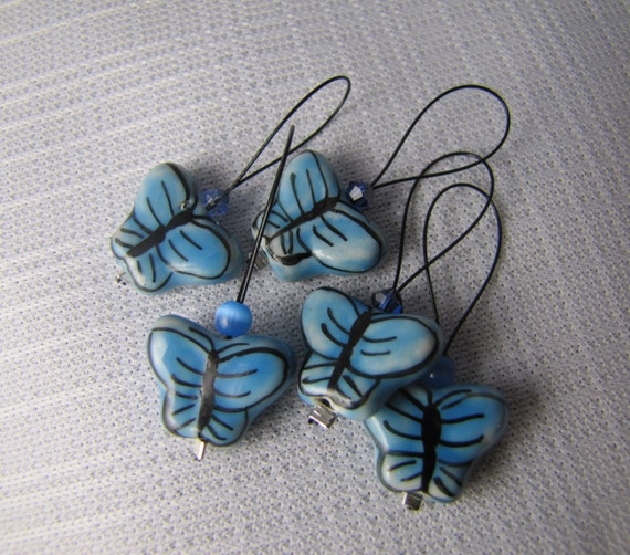 Fluttering Blue - Five Snagless Stitch Markers - Fits Up To 8 mm (11 US)