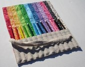 Reserved for yvonnekutz - Pencil Roll in Flowered Cotton and Natural Osnaburg