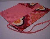 Brush\/ Pencil Roll in Pink Cotton
